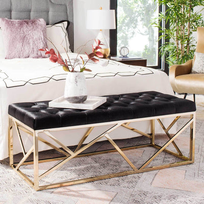 Fatima Tufted Rectangular Bench Black/Brass
