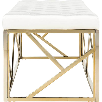 Fatima Tufted Rectangular Bench Beige/Brass