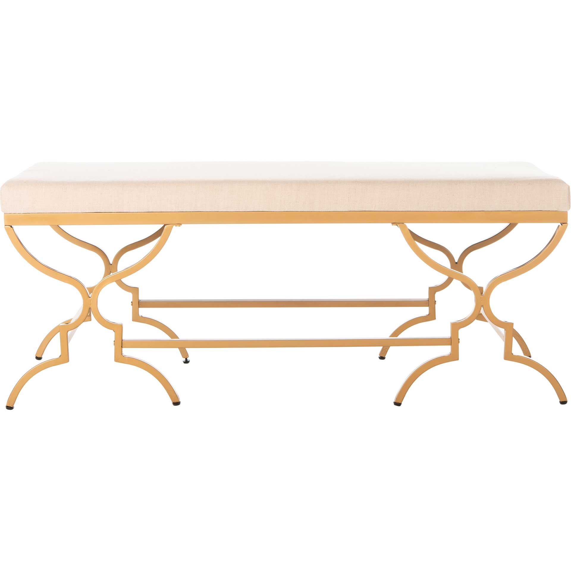 Jules Rectangular Bench Beige/Gold