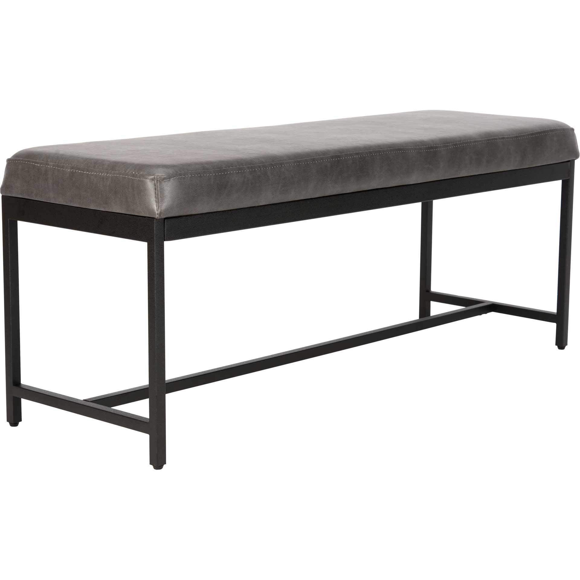 Chamonix Faux Leather Bench Gray