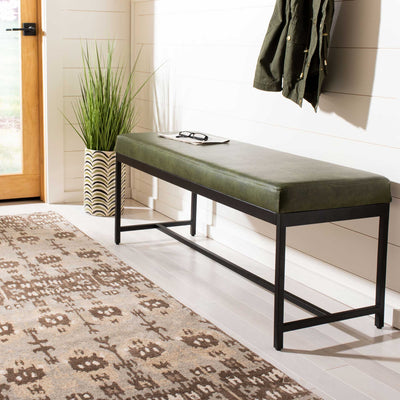 Chamonix Faux Leather Bench Dark Green