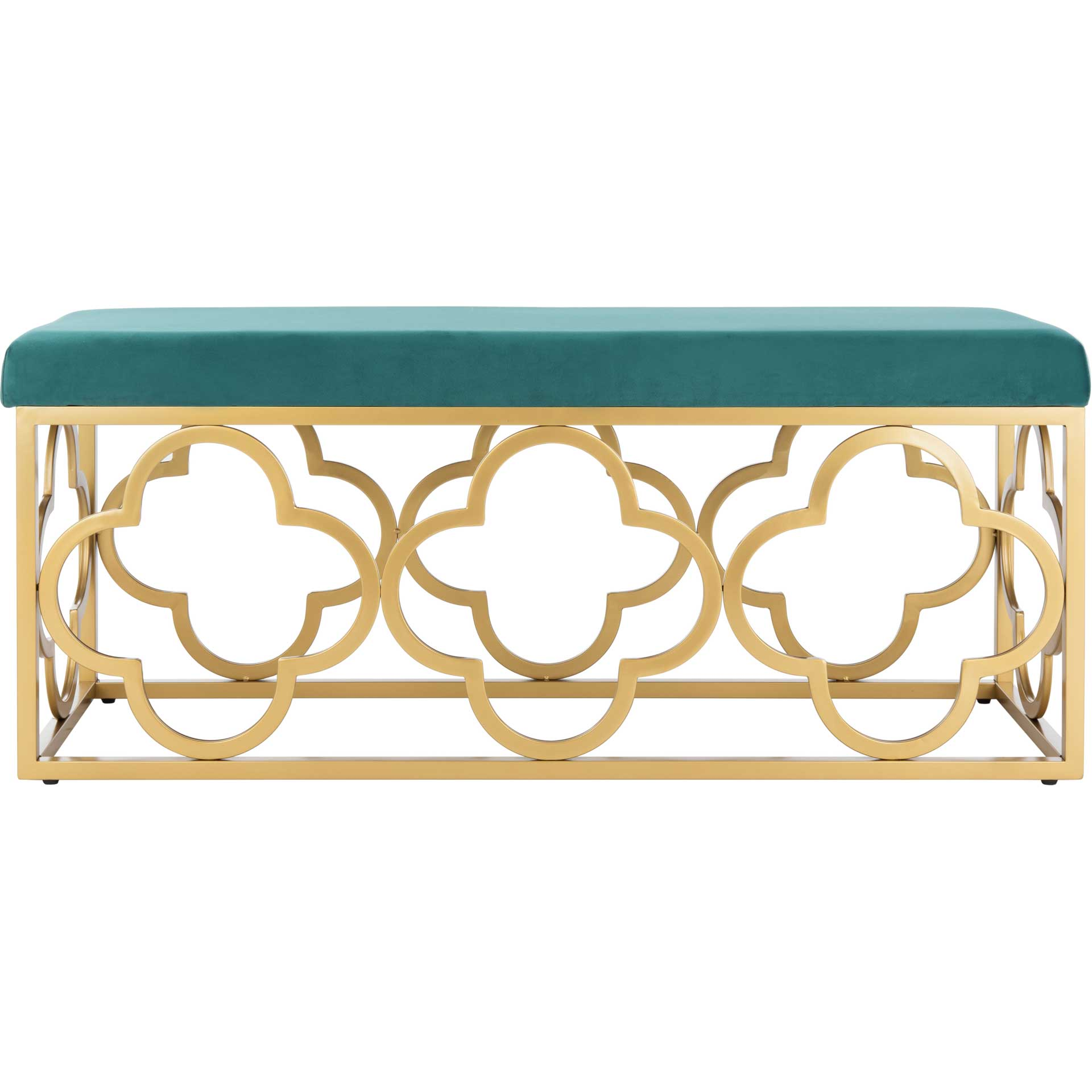 Florence Rectangle Bench Emerald/Gold