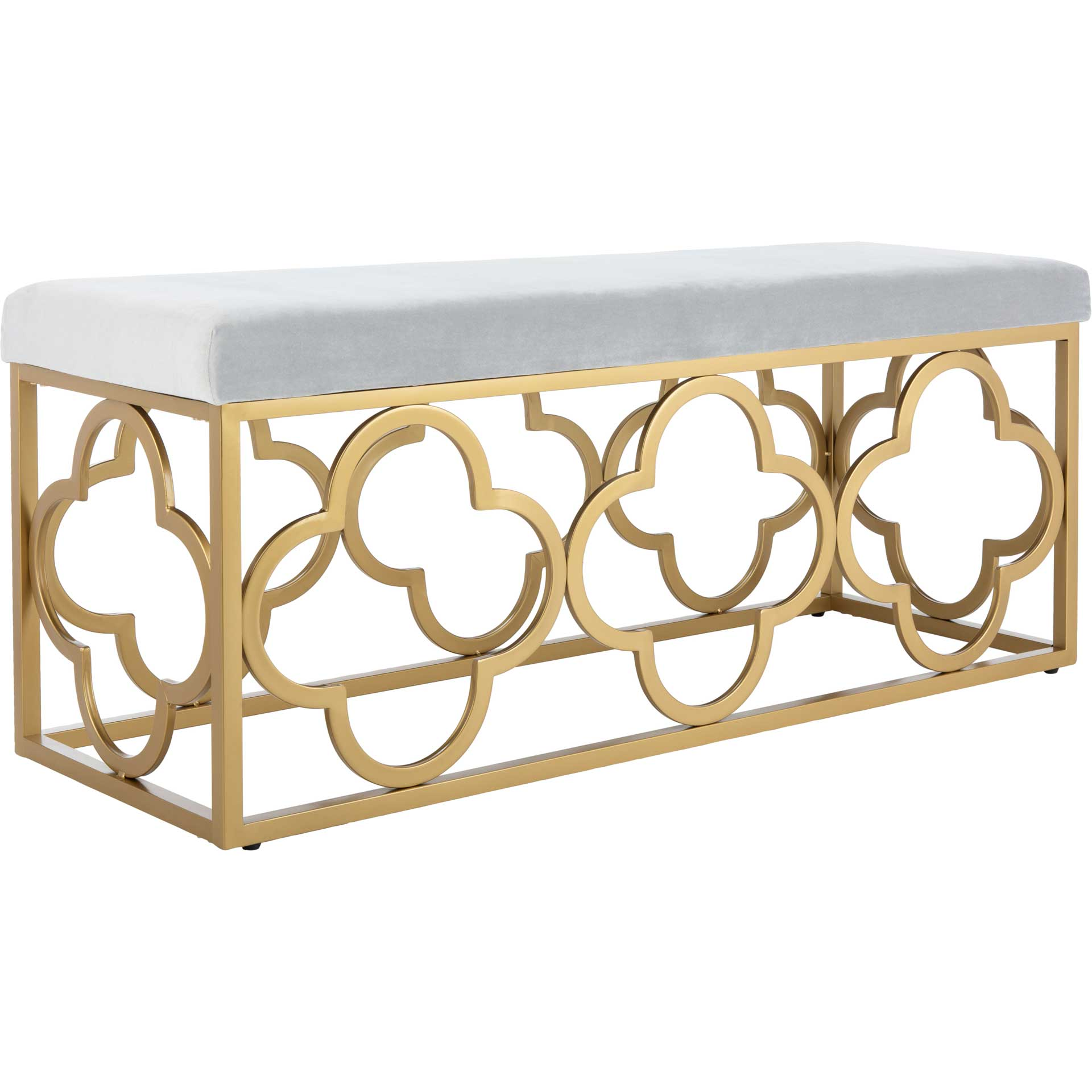 Florence Rectangle Bench Gray/Gold