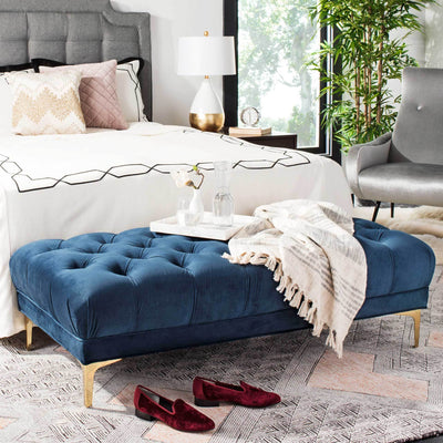Zane Tufted Rectangular Bench Navy/Brass