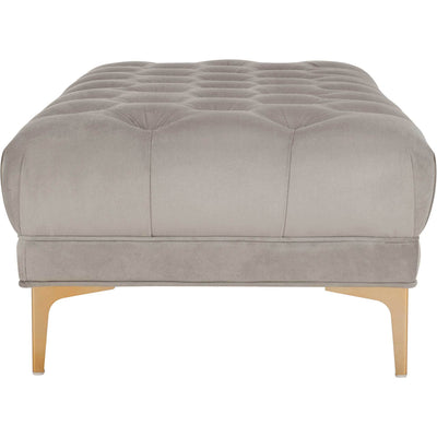 Zane Tufted Rectangular Bench Gray/Brass