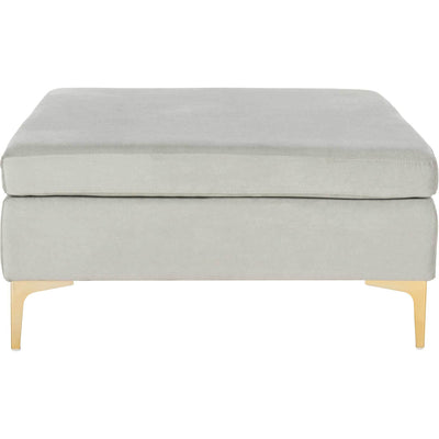 Gianni Square Bench Gray/Brass