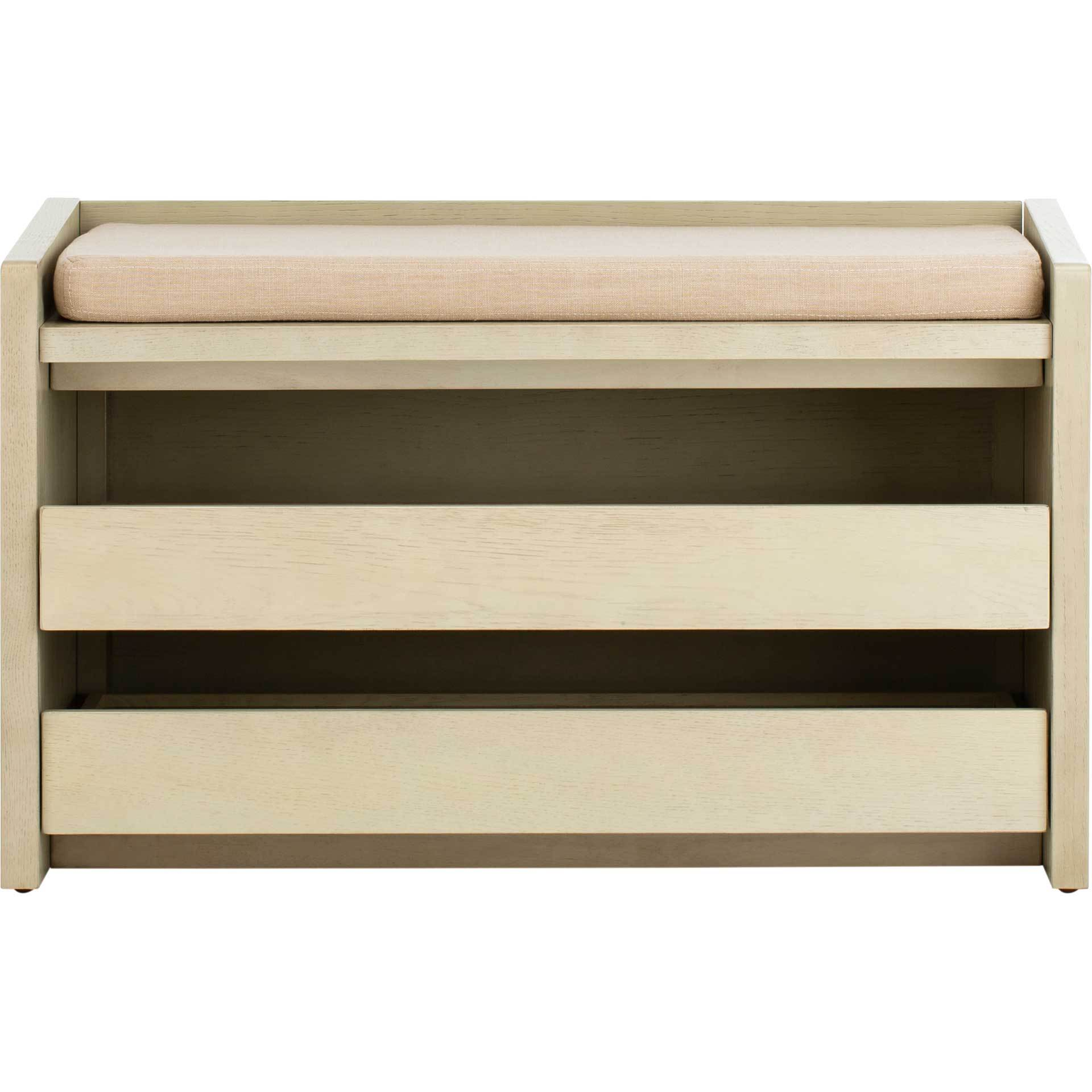 Perla Storage Bench White Wash/Beige