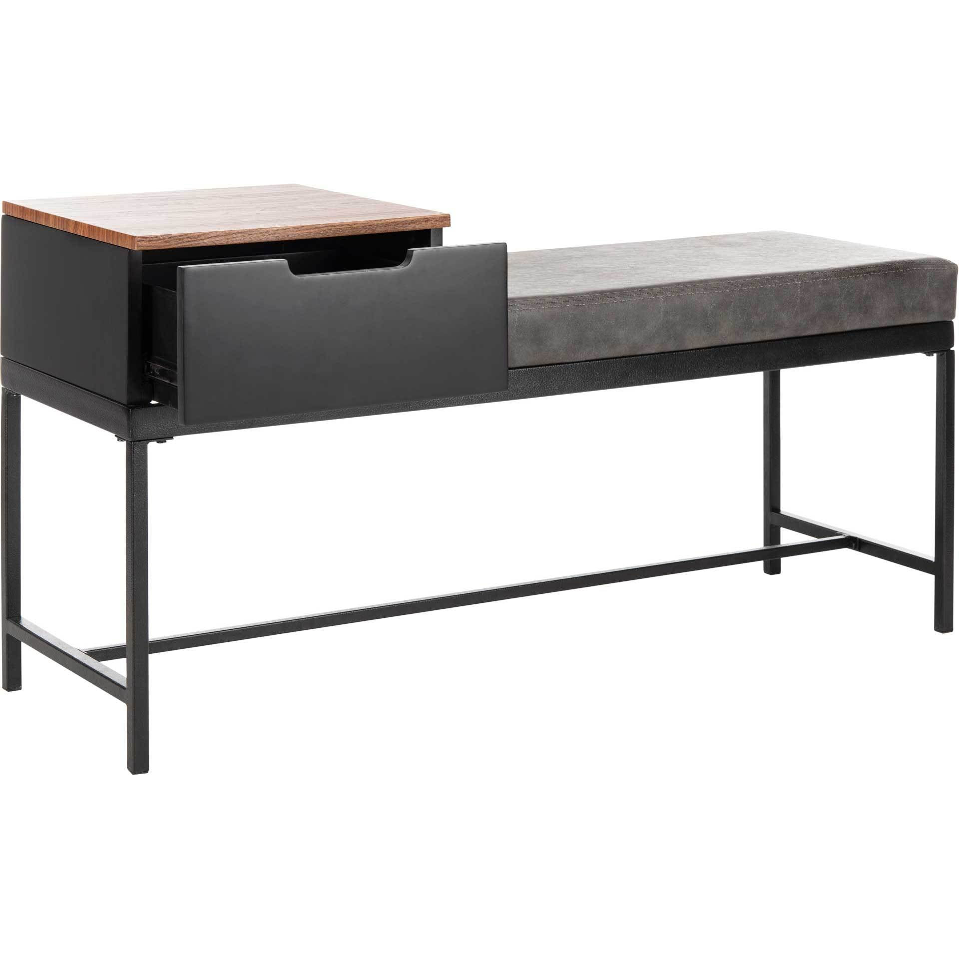 Maxton Bench With Storage Brown/Gray