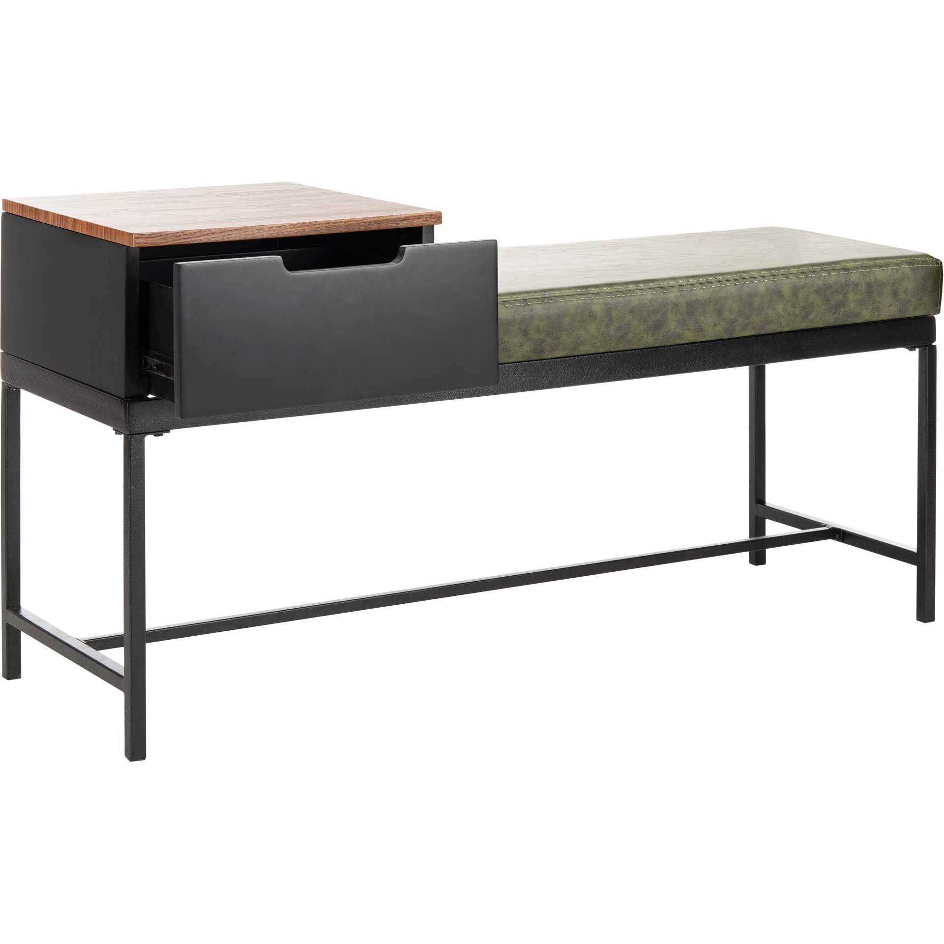Maxton Bench With Storage Gray Wash/Dark Green