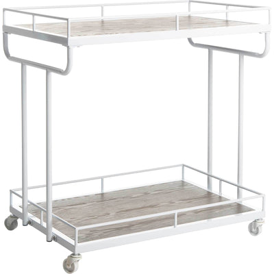 Damari 2 Tier Rectangle Bar Cart Rustic Oak/White