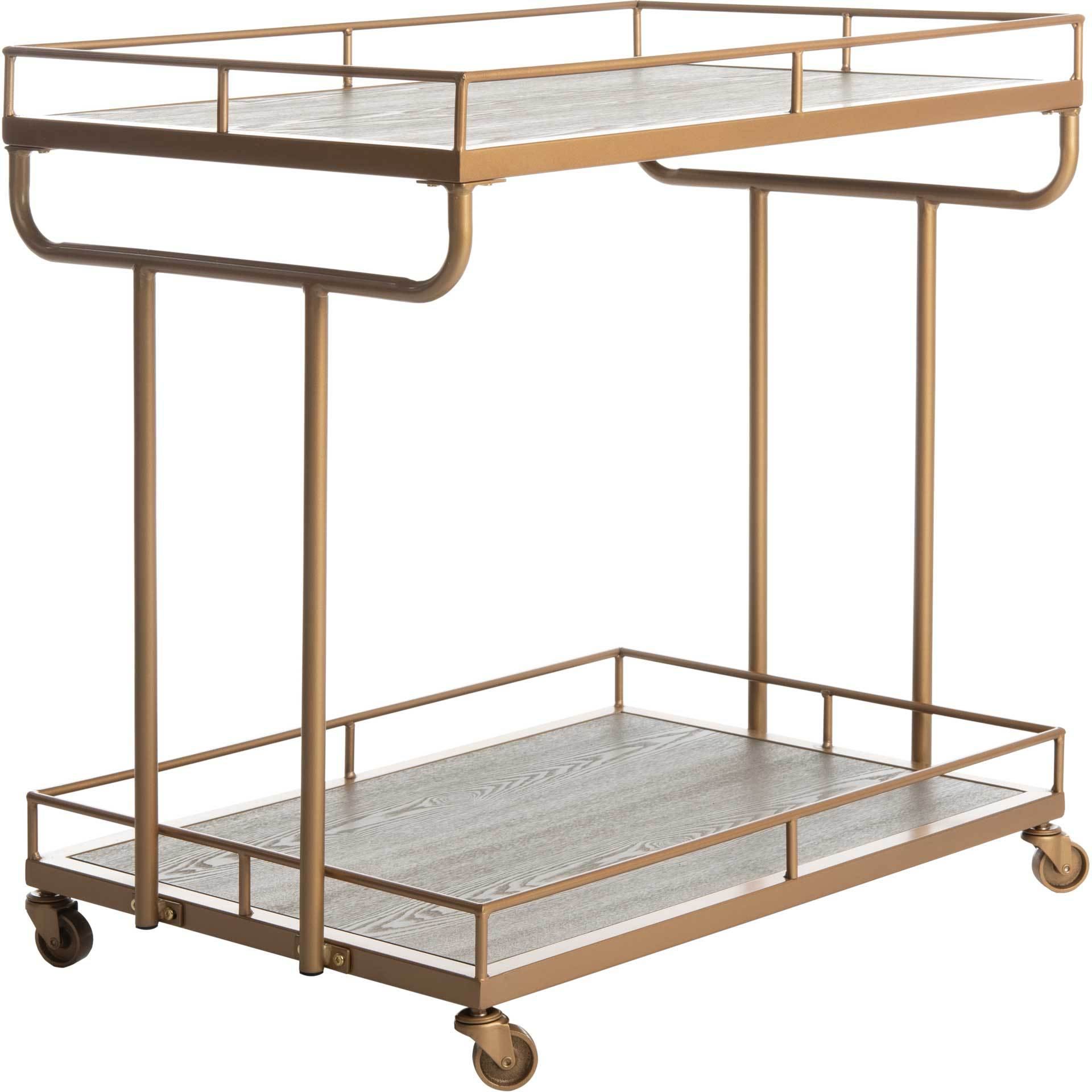Damari 2 Tier Rectangle Bar Cart Rustic Oak/Gold