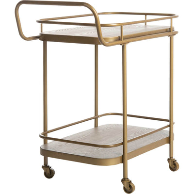 Gabriela 2 Tier Rectangle Bar Cart Rustic Oak/Gold