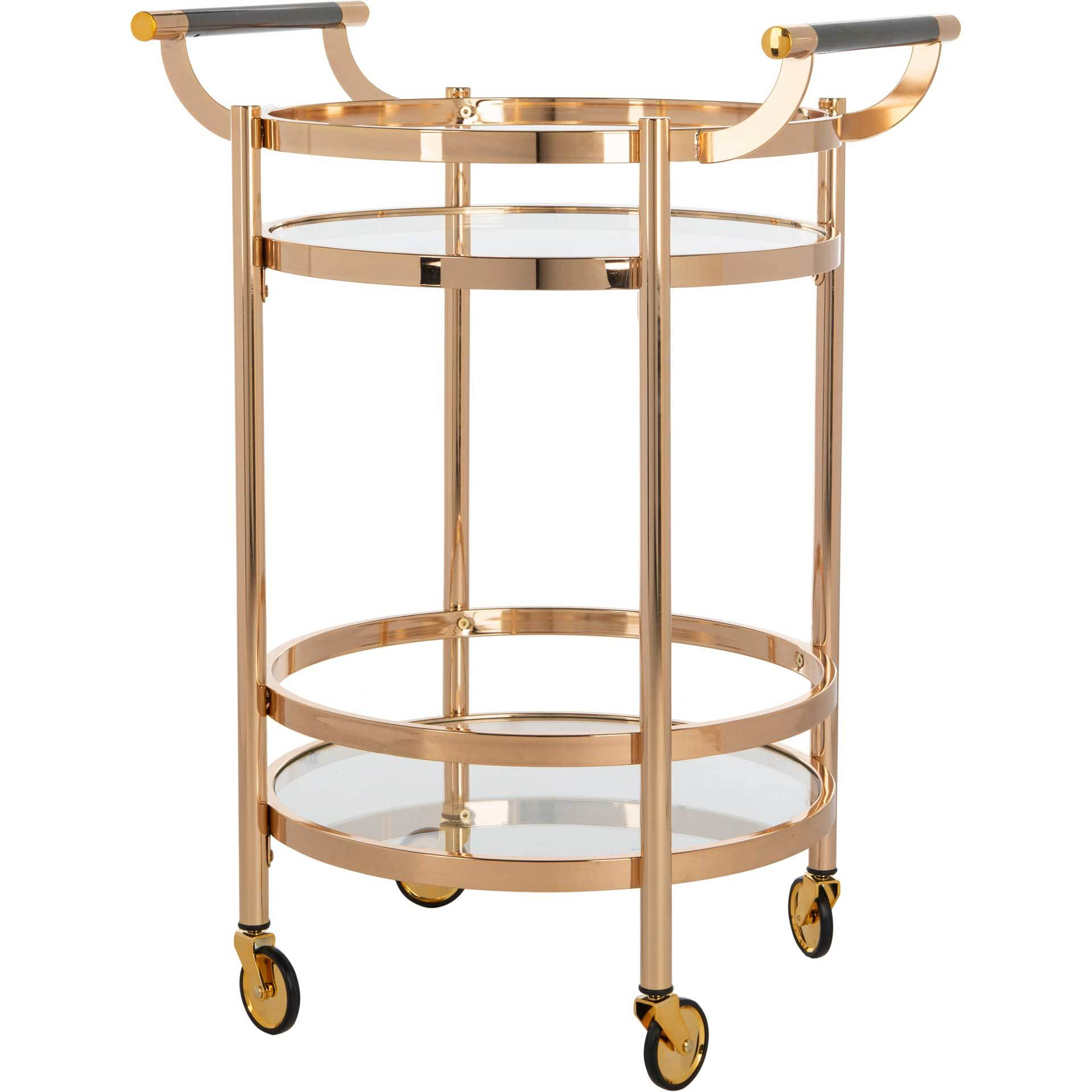 Simon 2 Tier Round Bar Cart Gold