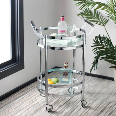 Simon 2 Tier Round Bar Cart Chrome