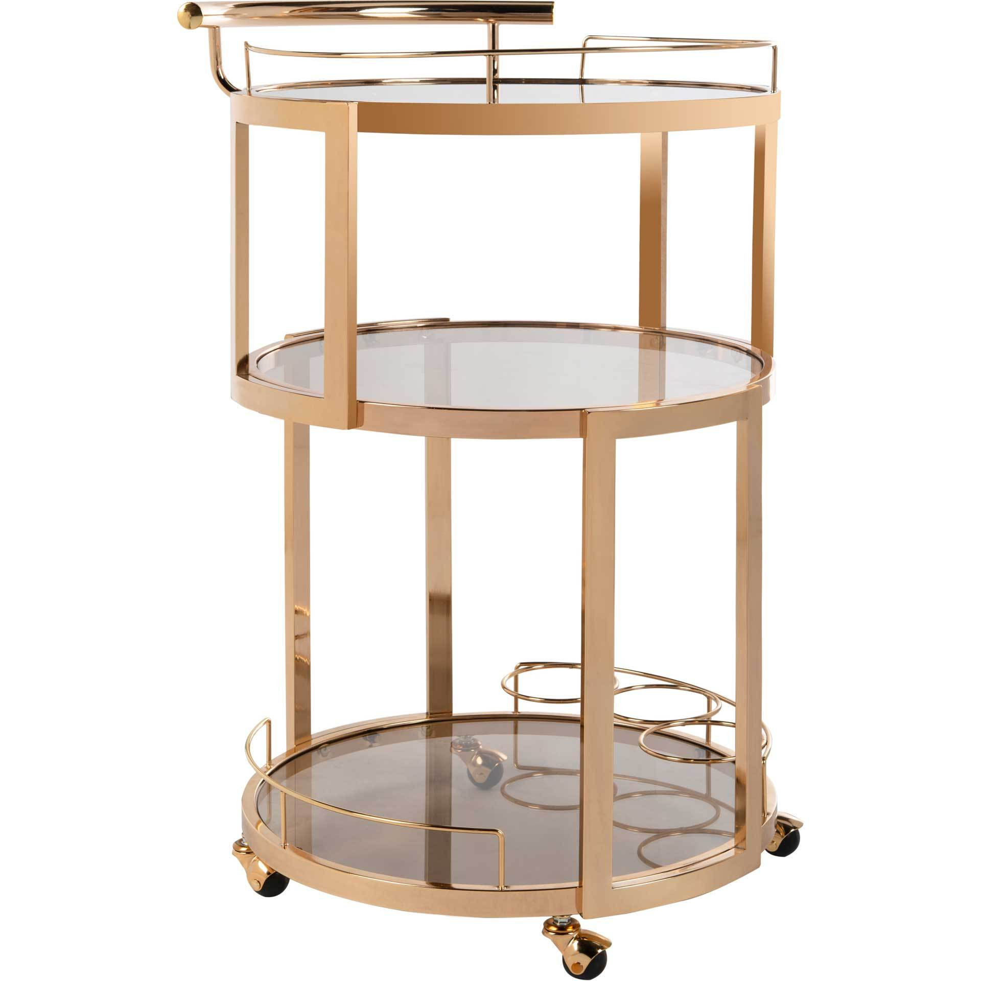 Ricky 3 Tier Round Bar Cart and Wine Rack Gold/Tinted Glass