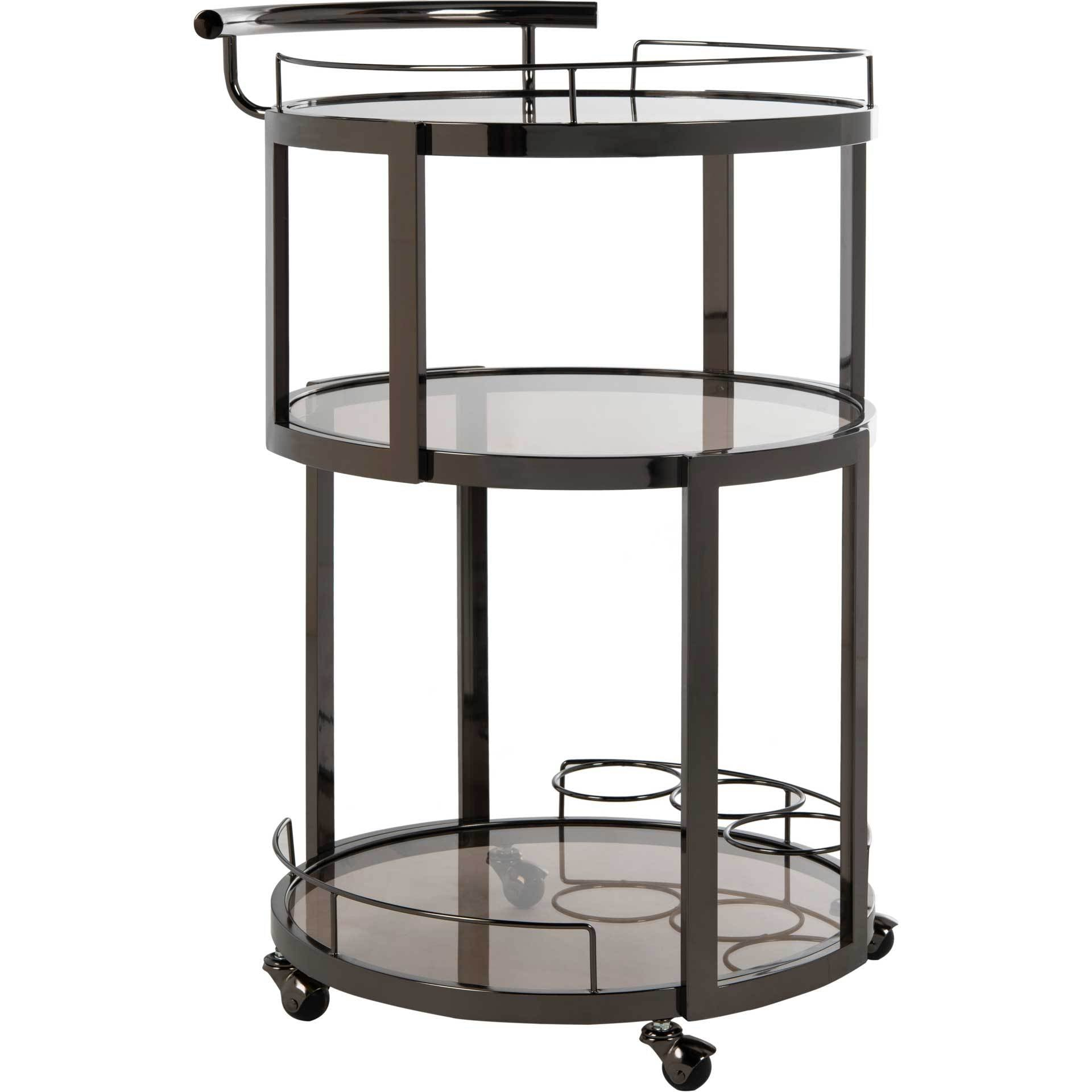 Ricky 3 Tier Round Bar Cart and Wine Rack Gun Metal/Tinted Glass