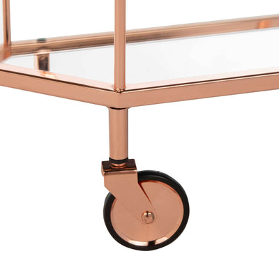 Sincere 2 Tier Octagon Bar Cart Rose Gold/Mirror