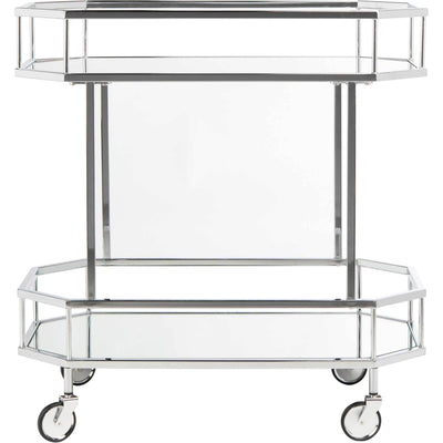Sincere 2 Tier Octagon Bar Cart Silver/Mirror