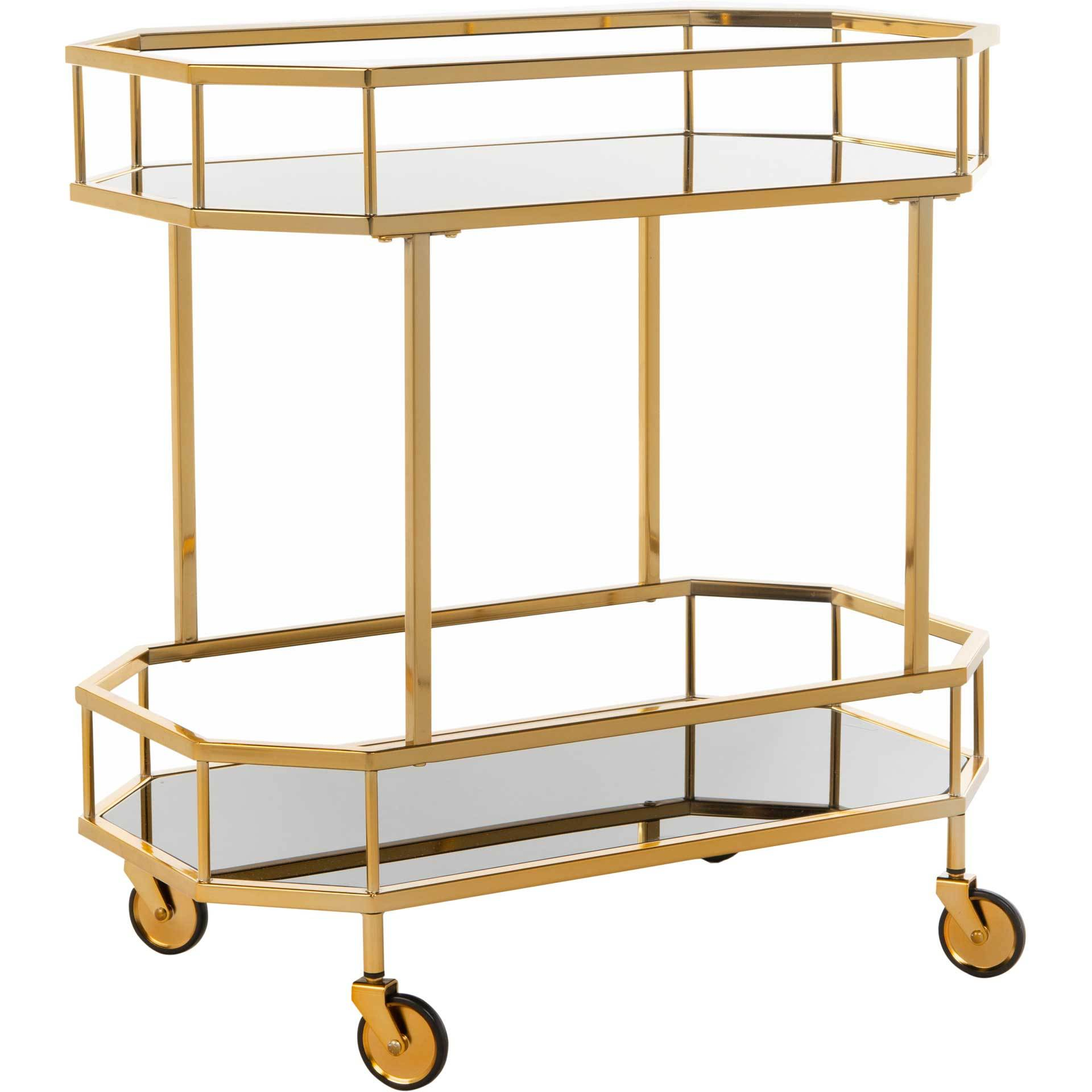 Sincere 2 Tier Octagon Bar Cart Brass/Tinted Glass