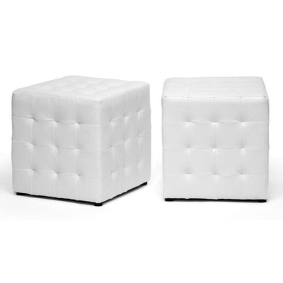 Zwolle Ottoman White (Set of 2)