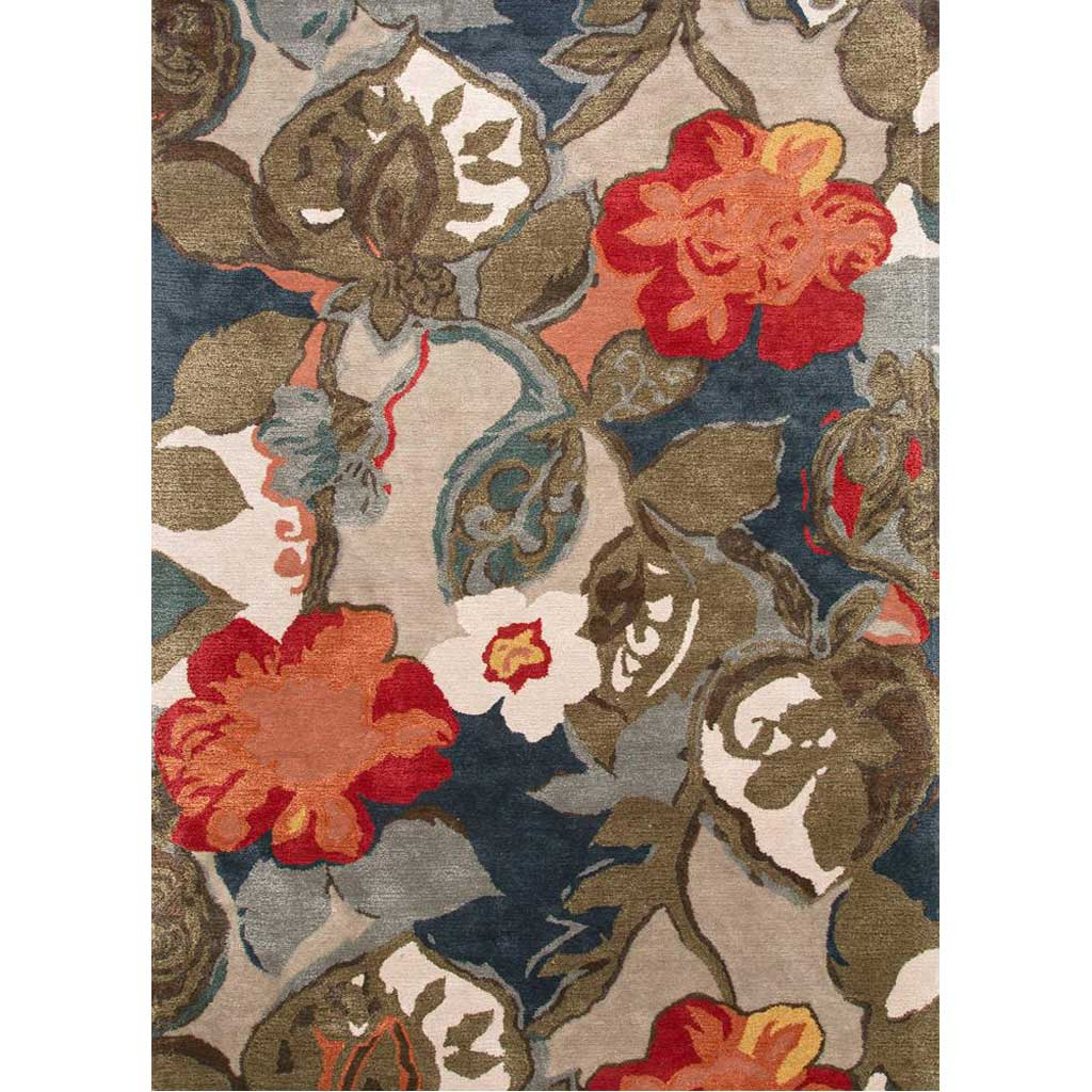 Blue Petal Pusher Indigo/Silver Gray Area Rug