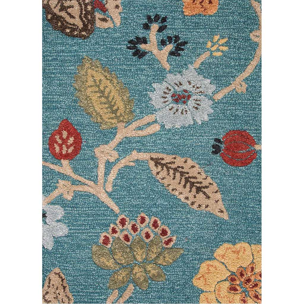 Blue Garden Party Peacock Blue/Marigold Area Rug