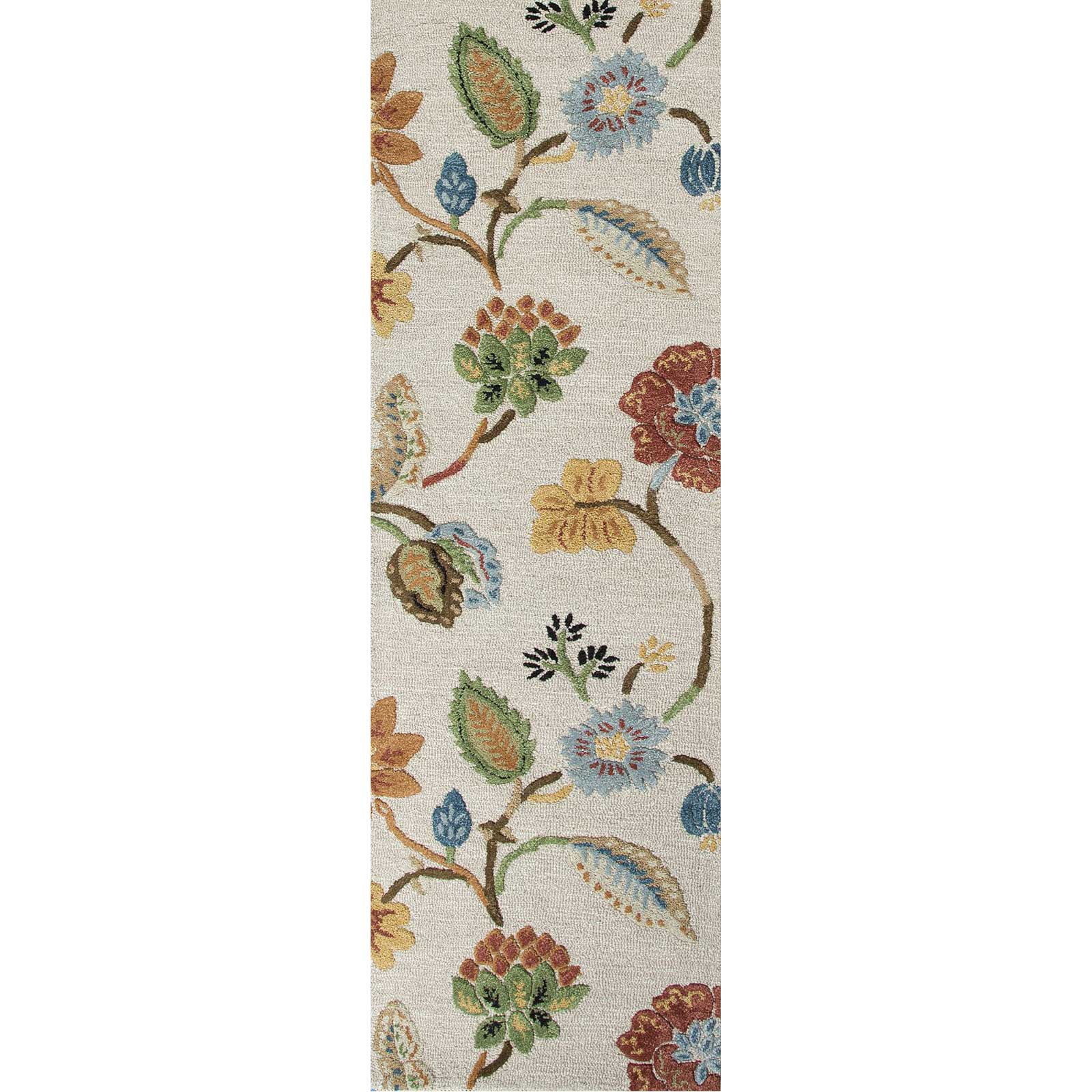 Blue Garden Party Antique White Runner Rug