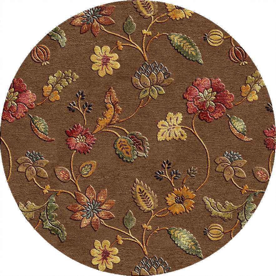 Blue Garden Party Cocoa Brown Round Rug