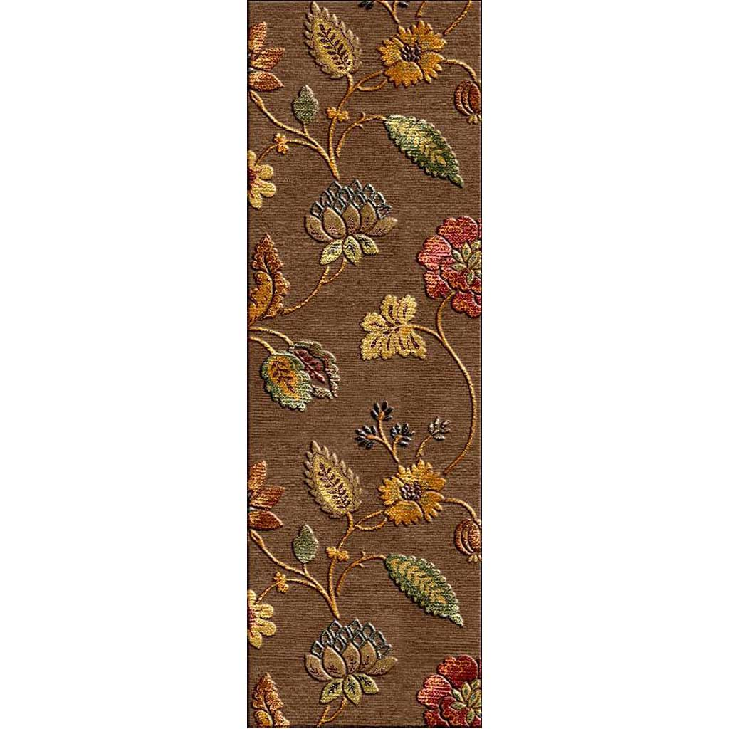 Blue Garden Party Cocoa Brown Runner Rug