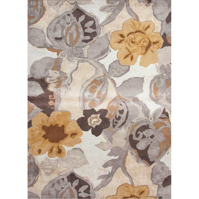 Blue Petal Pusher White/Nickel Area Rug