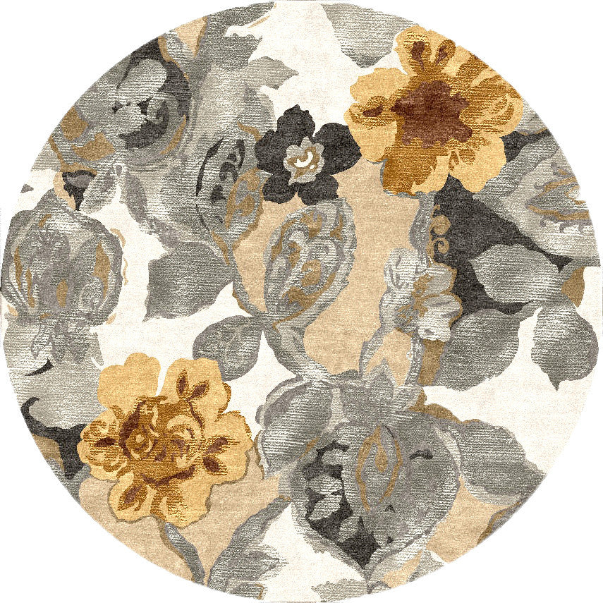 Blue Petal Pusher White/Nickel Round Rug