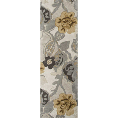 Blue Petal Pusher White/Nickel Runner Rug