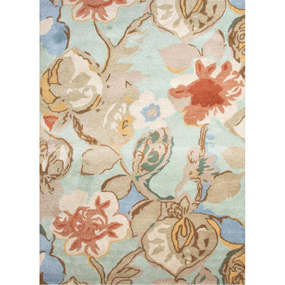 Blue Petal Pusher Aqua Foam Area Rug