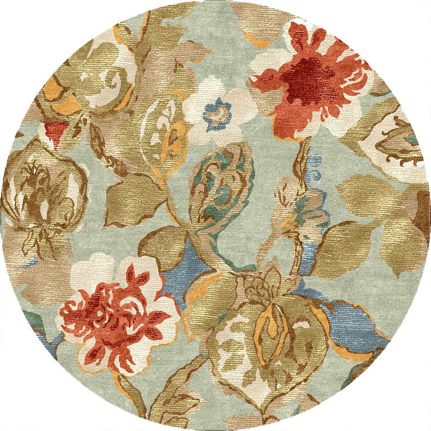 Blue Petal Pusher Aqua Foam Round Rug