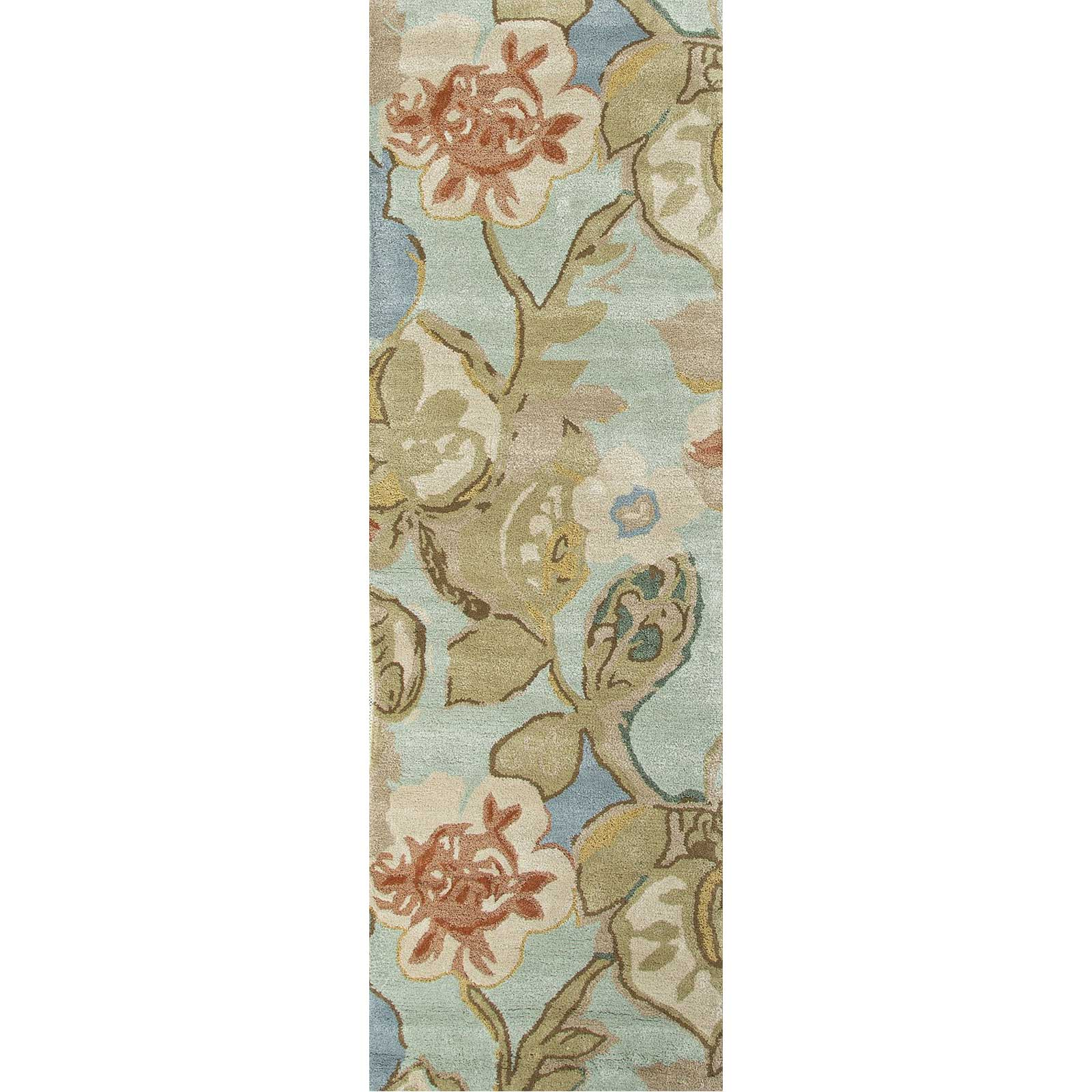 Blue Petal Pusher Aqua Foam Runner Rug