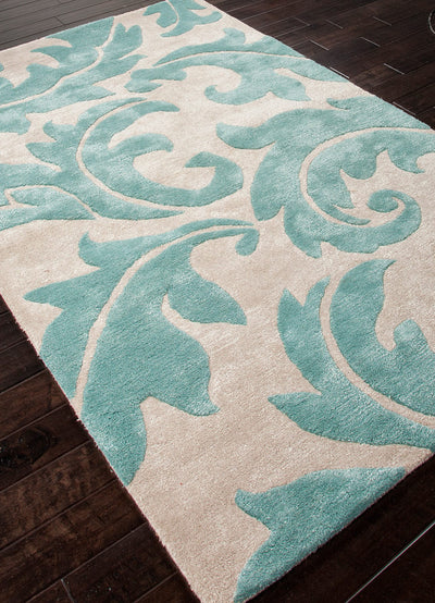 Blue Aloha Antique White/Light Turquoise Area Rug