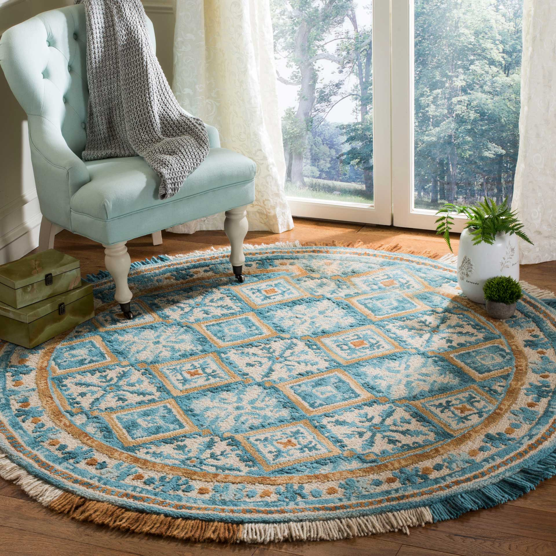 Blossom Ivory/Teal Round Rug