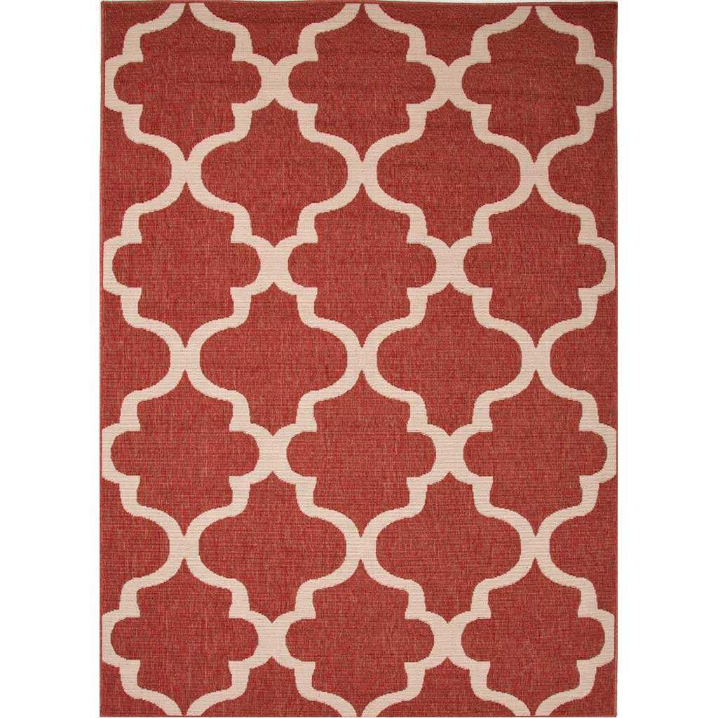 Bloom Stamped Jester Red/Birch Area Rug