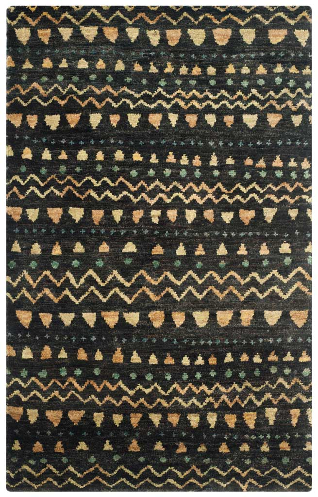 Bohemian Black Gold Area Rug Froy