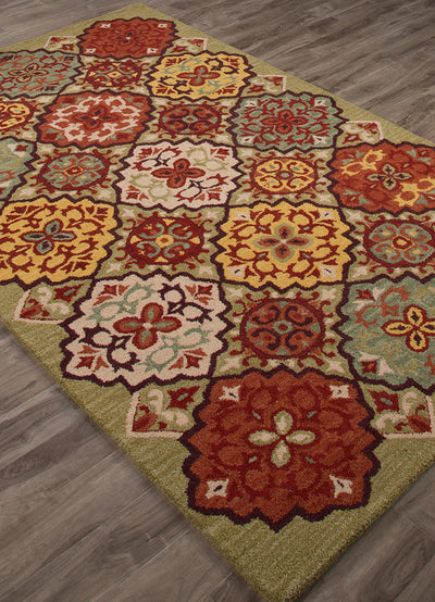 Bristol Lisboa Green Bananas/Orange Rust Area Rug