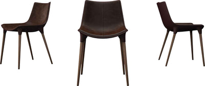 Langham Leather Dining Chair Aged Mocha/Dark Teak