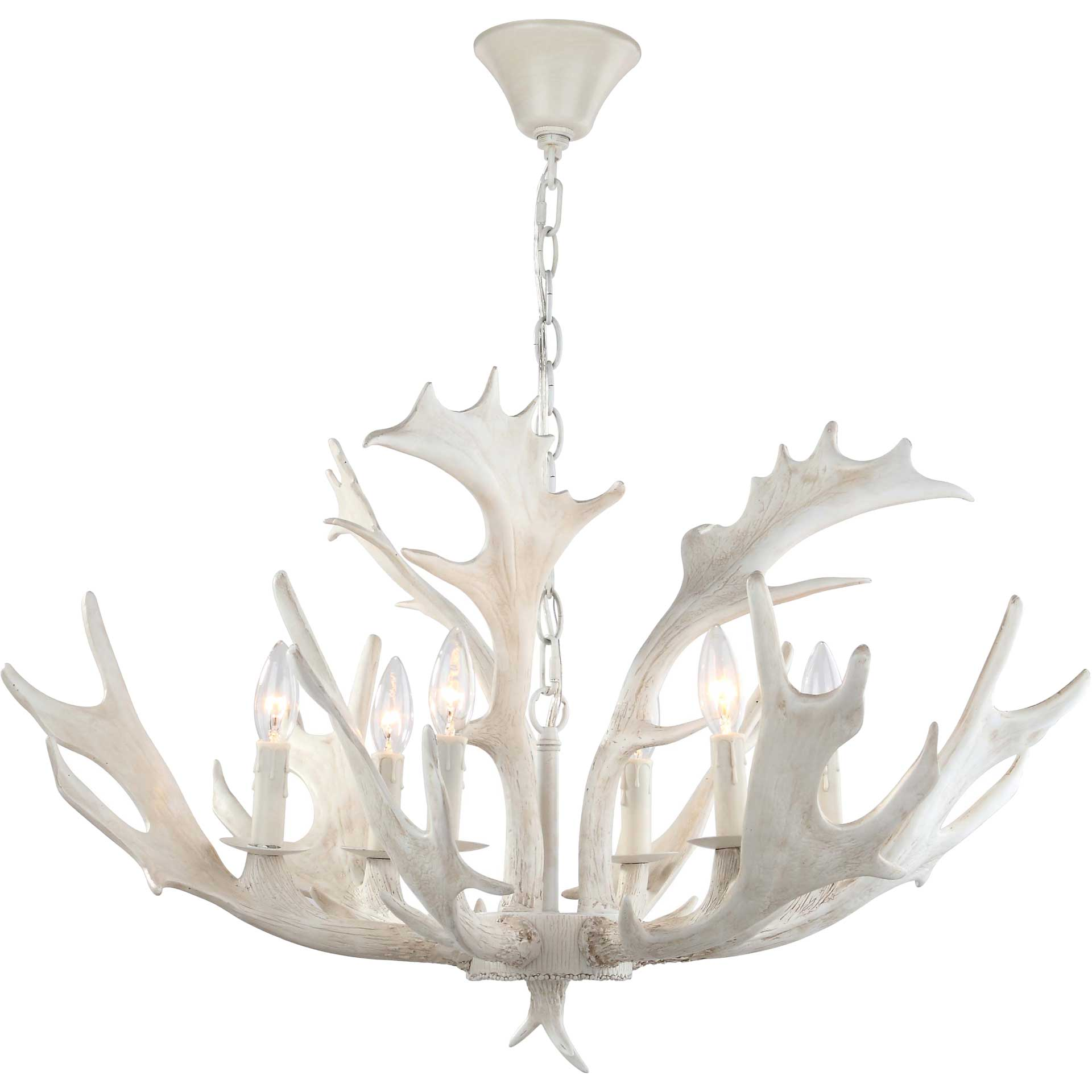 Bixby Antler Chandelier White