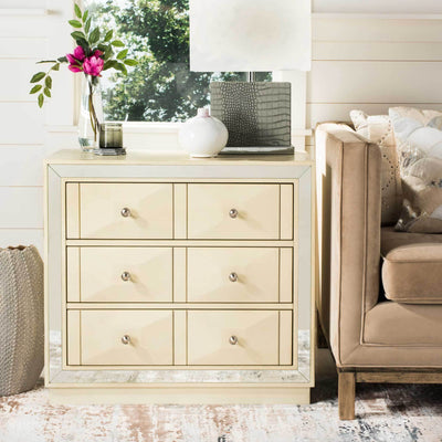 Slade 3 Drawer Chest Antique Beige/Nickel/Mirror