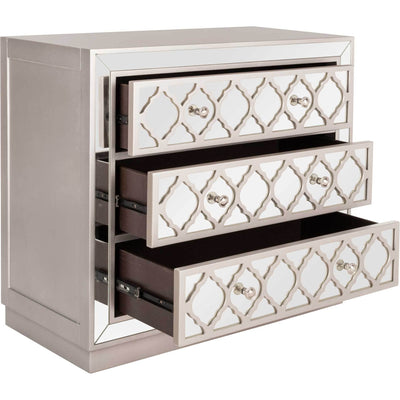 Amira 3 Drawer Chest Champagne/Nickel/Mirror