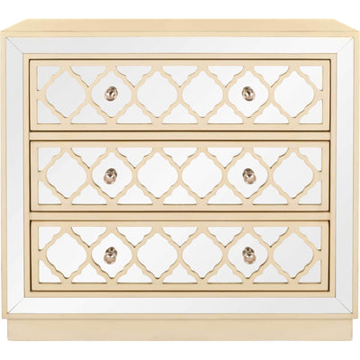 Amira 3 Drawer Chest Antique Beige/Nickel/Mirror