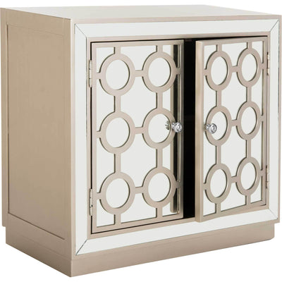 Kara 2 Door Chest Champagne/Nickel/Mirror