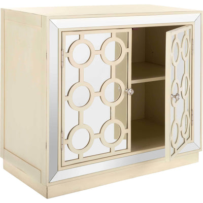 Kara 2 Door Chest Antique Beige/Nickel/Mirror