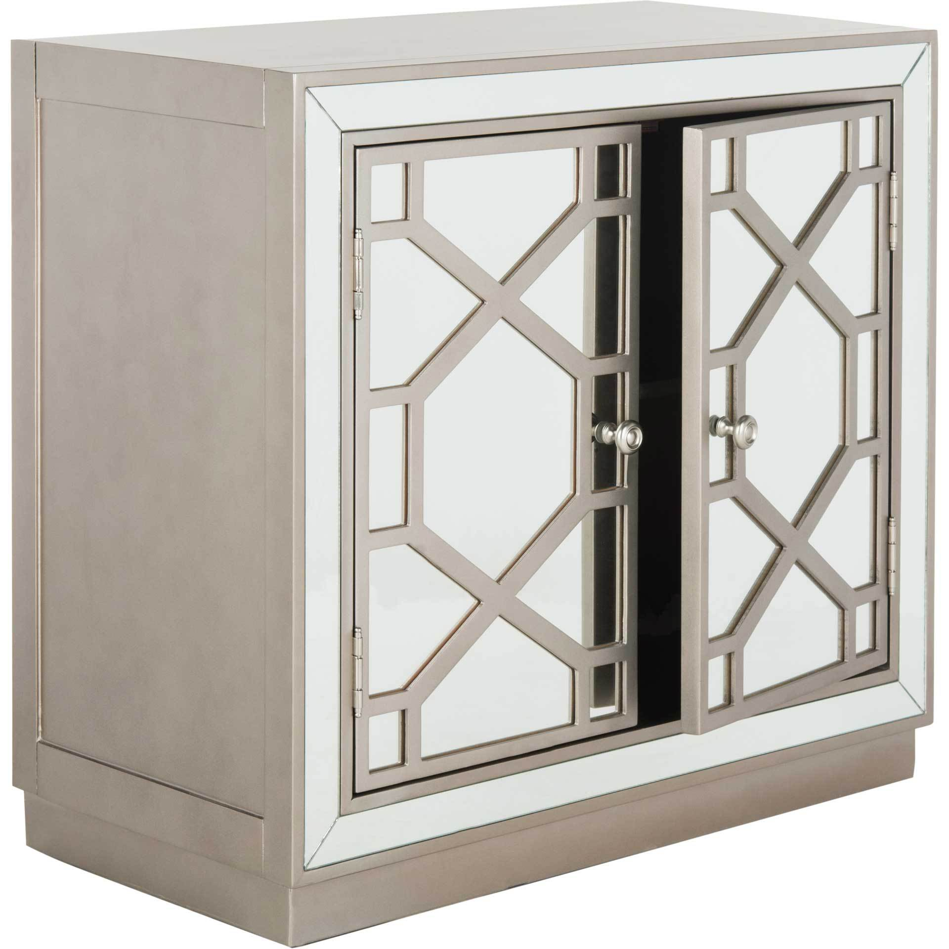 Julio 2 Door Chest Champagne/Nickel/Mirror