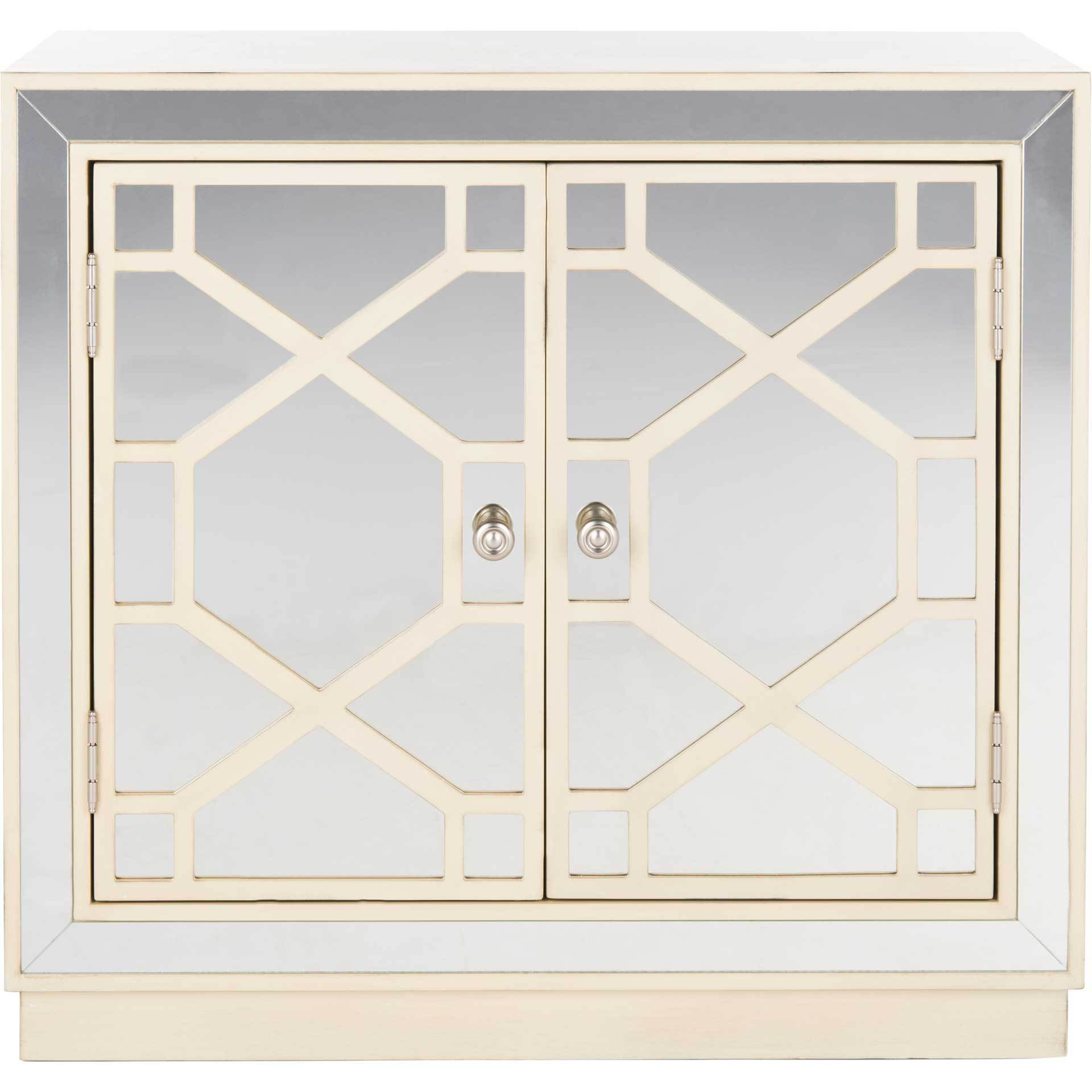 Julio 2 Door Chest Antique Beige/Nickel/Mirror