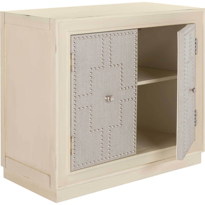 Azaria 2 Door Chest Antique Beige/Nickel/Mirror